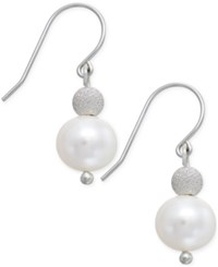 Macy's White Freshwater Pearl 9Mm And Silver Bead Hook Earrings In Sterling Silver