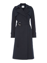 Ivy And Oak Classic Longsleeve Trench Coat With Belt Midnight Blue