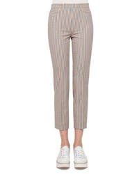 Akris Punto Franca Seersucker Striped Pants Multi