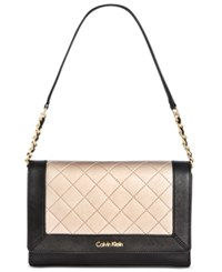 Calvin Klein Quilted Demi Bag Black Metallic Taupe Quilt