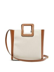 Staud Shirley Canvas And Leather Tote Bag Beige Multi