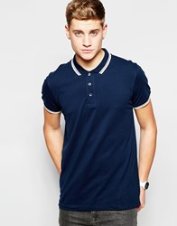 Brave Soul Tipped Polo Shirt Blue