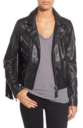 Women's Rudsak Fringe Lambskin Leather Moto Jacket