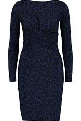 Michael Michael Kors Ellensburg Leopard Print Stretch Jersey Dress Blue