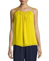 Laundry By Shelli Segal Solid Drawcord Neck Top Bright Green