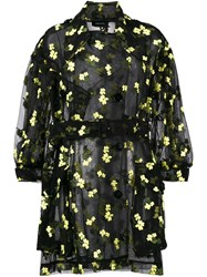 Simone Rocha Organza Flower Embroidered Trench Cotton Polyamide Polyester Black