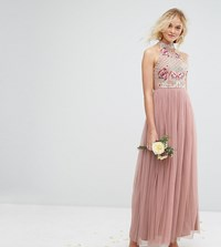 Maya High Neck Embroidered Rose Tulle Maxi Dress Brown