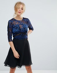 Elise Ryan Lace Skater Dress With Ladder Trim Black Blue Multi