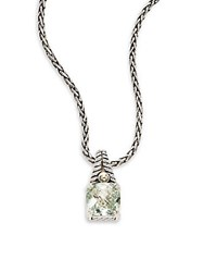 Effy Green Amethyst Sterling Silver And 18K Yellow Gold Square Pendant Necklace
