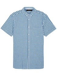 Jaeger Cotton Linen Gingham Short Sleeve Shirt Cobalt Blue
