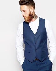 Asos Wedding Slim Fit Waistcoat In Navy Blue