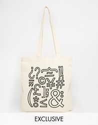 Reclaimed Vintage Typography Canvas Tote Bag Beige