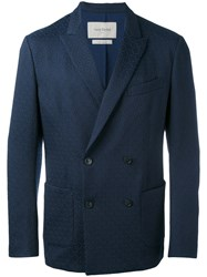 Casely Hayford Double Breasted Blazer Men Cotton Polyester Polyurethane Cupro 38 Blue
