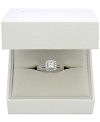 Marchesa Celeste Halo By Certified Diamond Split Shank Engagement Ring 1 1 5 Ct. T.W. In 18K White Gold