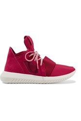 Adidas Originals Tubular Defiant Neoprene And Suede Sneakers Red