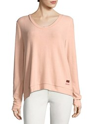 Peace Love World Kristy Comfy Lace Up Sweater Pale Blush