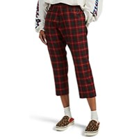 R 13 Plaid Wool Drop Rise Crop Trousers Red
