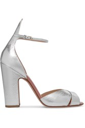 Francesco Russo Snake Effect Leather Sandals Silver