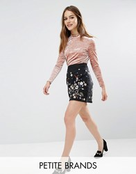 New Look Petite Embroidered A Line Mini Skirt Black Pattern