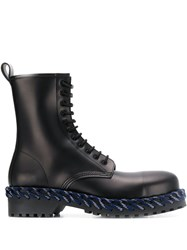 Balenciaga Woven Detail Lace Up Boots Black