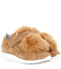 Pierre Hardy Fox Runner Fur Trimmed Suede Sneakers Brown