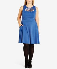 City Chic Trendy Plus Size Cutout Skater Dress Indigo