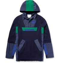 Sacai Canvas Panelled Knitted Cotton Jacket Navy