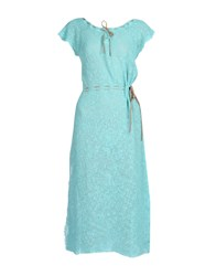 Pin Up Stars Knee Length Dresses Turquoise