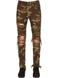 Balmain 15Cm Destroyed Camouflage Jeans