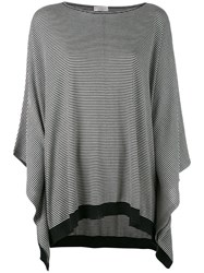 Brunello Cucinelli Striped Poncho Sweater Women Cashmere Wool L Black