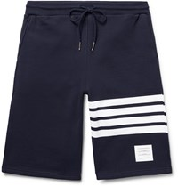 Thom Browne Striped Loopback Cotton Jersey Shorts Blue