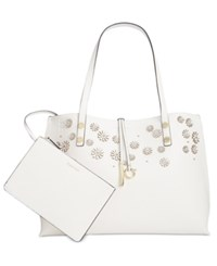 Calvin Klein Flower Applique Novelty Tote With Pouch White