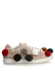 Joshua Sanders Pompom Embellished Knitted Trainers Beige Multi