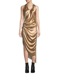 Helmut Lang Gathered Metallic Viscose Cocktail Dress With Fringe Gold
