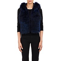 J. Mendel Women's Fur Vest Navy