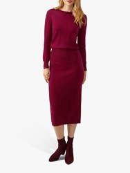 Pure Collection Knitted Ribbed Dress Deep Claret