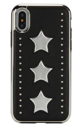 Rebecca Minkoff Leather Star Iphone X Case Black Silver Black