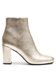 Saint Laurent Babies Leather Ankle Boots Gold