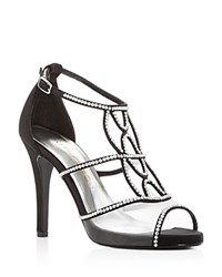 Caparros Ellen Jeweled Satin High Heel Sandals Black