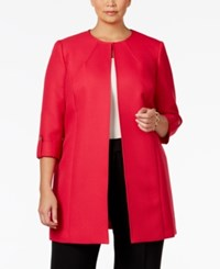 Tahari By Arthur S. Levine Asl Plus Size Textured Long Jacket Hibiscus Red