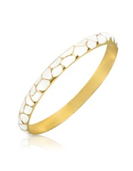 Just Cavalli White Giraffe Patterned Gold Plated Bangle Bracelet