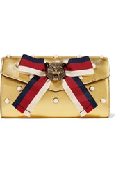 Gucci Broadway Faux Pearl Embellished Metallic Leather Clutch Gold