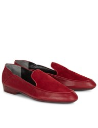 Robert Clergerie Cherry Leather And Suede Fani Loafers Burgundy
