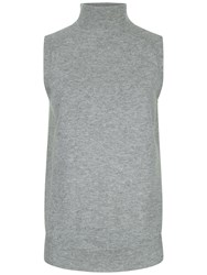 Jaeger Turtleneck Sleeveless Top Grey Melange