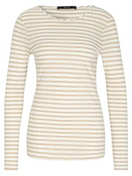 Oui Striped Jersey Top White Camel