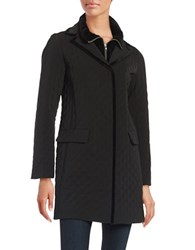 Jane Post Velvet Trimmed Quilted Walker Coat Black