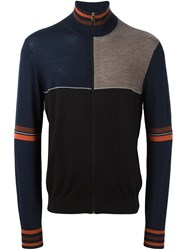 Paul Smith Zip Up Colour Block Cardigan Blue