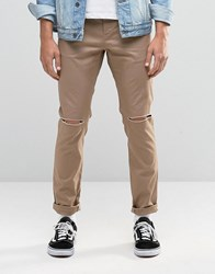 Asos Skinny Cotton Trousers In Stone With Knee Rip Stone