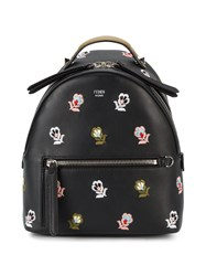Fendi Mini Floral Embroidered Backpack Women Leather One Size Black