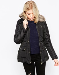 Brave Soul Quilted Faux Fur Collar Jacket Blackmink